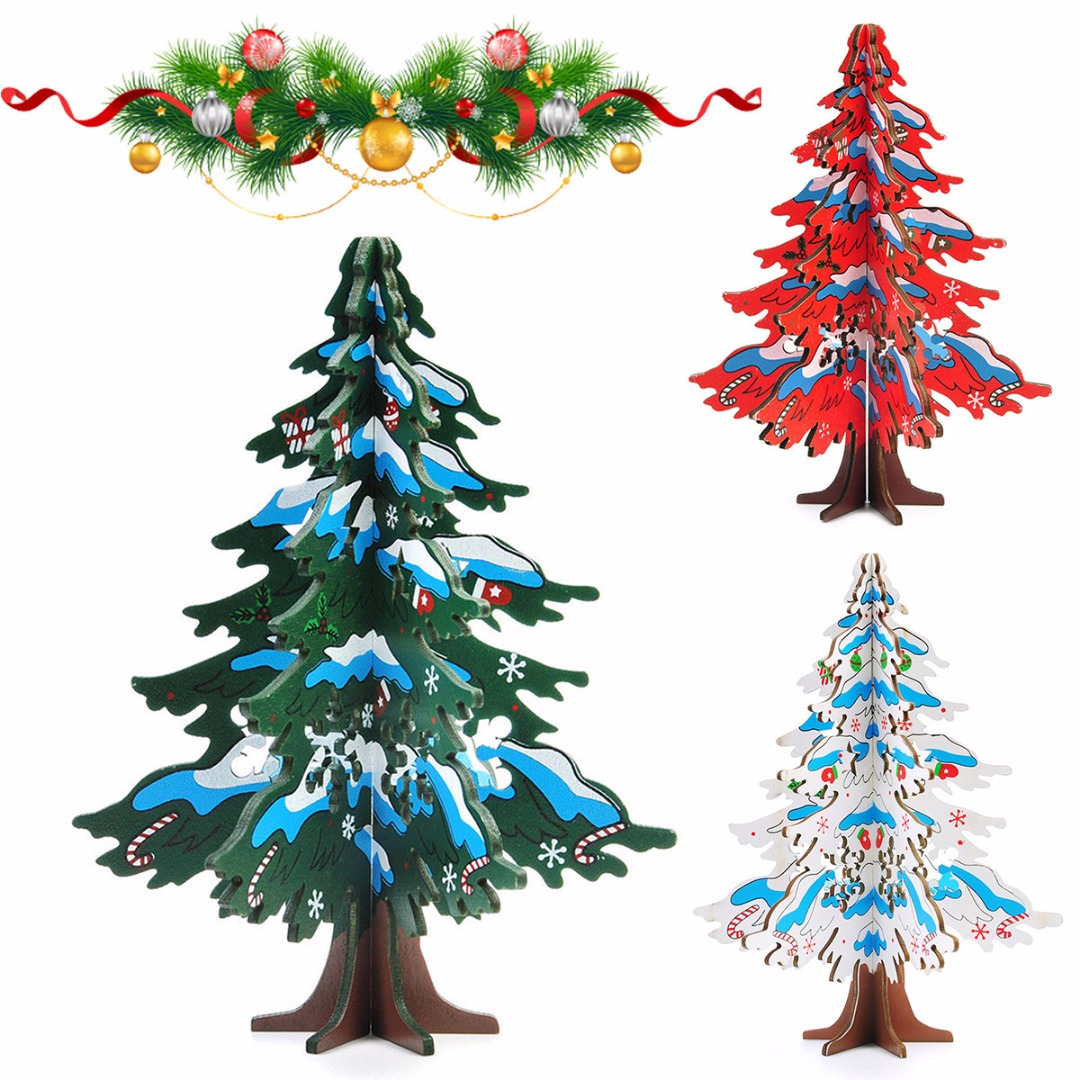 JX-LCLYL 16.5cm Wooden Christmas Tree Festival Party Ornaments Xmas Table Desk Decor 3D