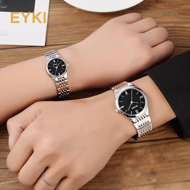 Men Women Stainless Steel Watches Business Dress Quartz Wrist Watch