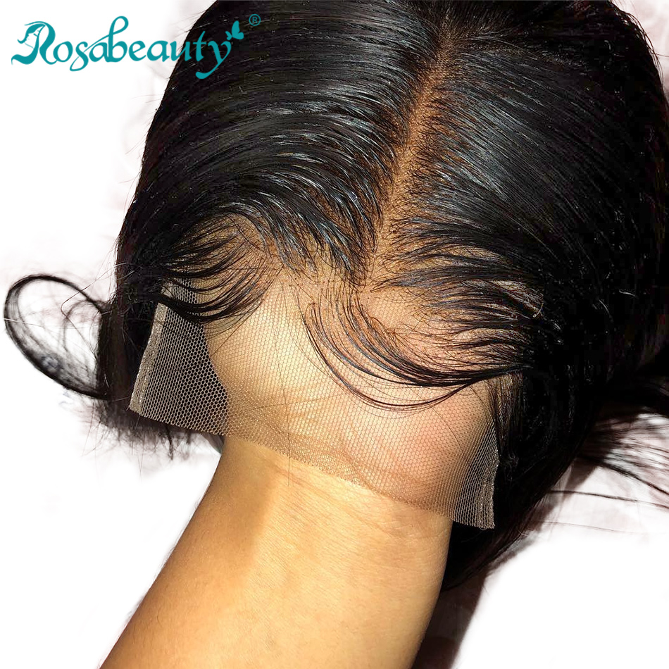 Rosabeauty Straight Hair Lace Closure 4x4 Human Virgin Hair Closure with baby hair Middle Free 3