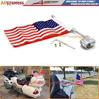 Motocycle Aluminum Rear Side Mount Luggage Rack Antenna Vertical Flag Pole American For Honda GoldWing GL1800