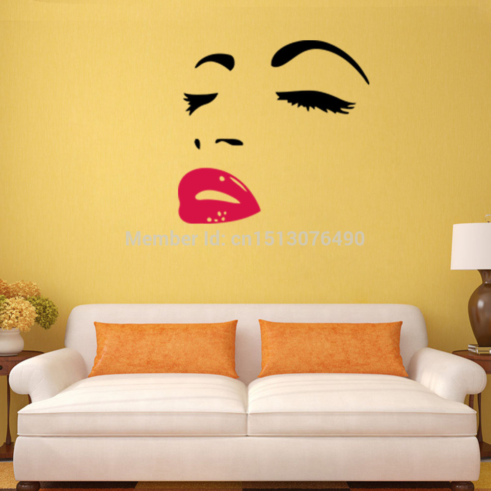 Hot Selling marilyn monroe quotes red lips wall stickers 8465 Home ...
