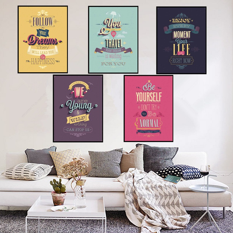 AZQSD Colorful Life Quotes Vintage Retro Art Prints Poster Hippie Wall Pictures Canvas Painting For Living Room Home Decor PP049