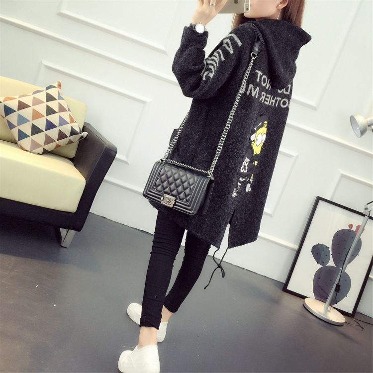 letter cartoon Con eyes Faux Cartoon Falso De Largo Para Black Black Suéter Cardigan 2018 Cachemira Knit Gray Mujeres Lana Black Mujer Capucha Caliente Señora pBwOARU
