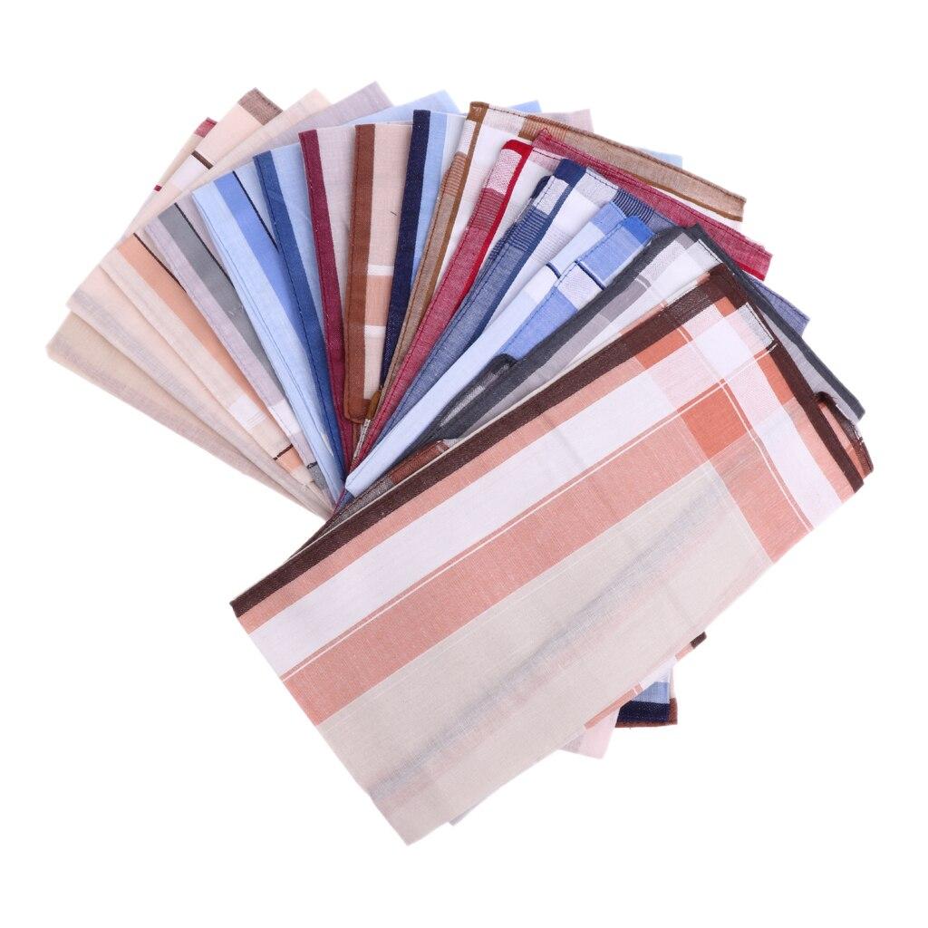 12pcs Vintage Handkerchief Mens Woven Cotton Square Plaid Striped Pocket Hanky Accessories For Weddings Parties Events