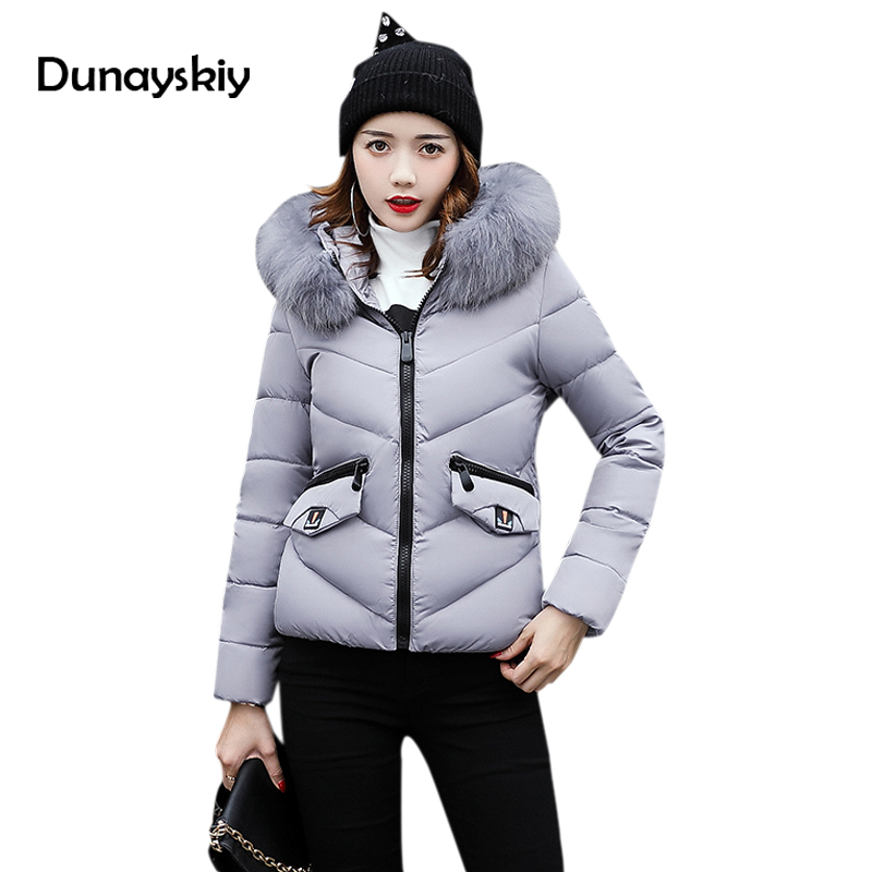 Winter jacket parka women fur collar down wadded jacket female cotton-padded jackets thickening women winter coat Dunayskiy
