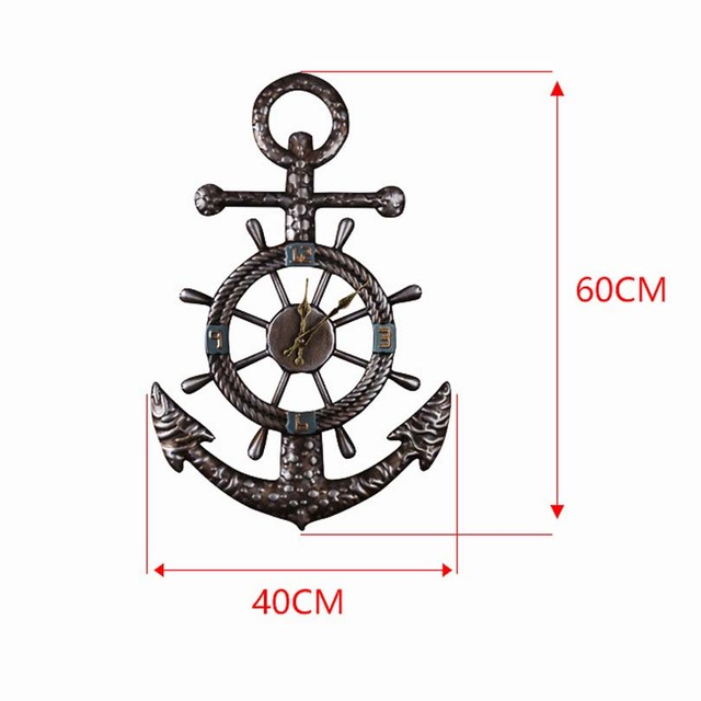 New Europe Style irregular shape Vintage Anchor Matel Mute Wall Clock Creative home Decoration Large size two can be preferentia
