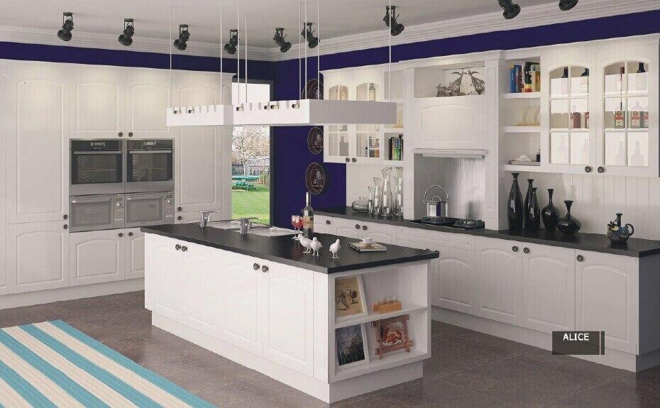 White Color PVC Coated Kitchen Cabinet K011
