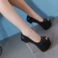 Women High Heels 16cm Peep Toe Women's Platforms Pumps Women Shoes Black Party Shoes Ladies Pumps Sexy Female Shoes Heels