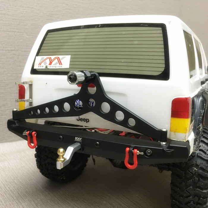 1/10 Rc Climbing Car Part CNC Metal Alloy Rear Bumper Collision FOR TRAXXAS TRX4 TRX-4 Axial Scx10 Scx10-ll Including Lights 17pcs led front rear lights ic lamp group headlight kit for traxxas trx4 rc car parts diy replacement repair accessories