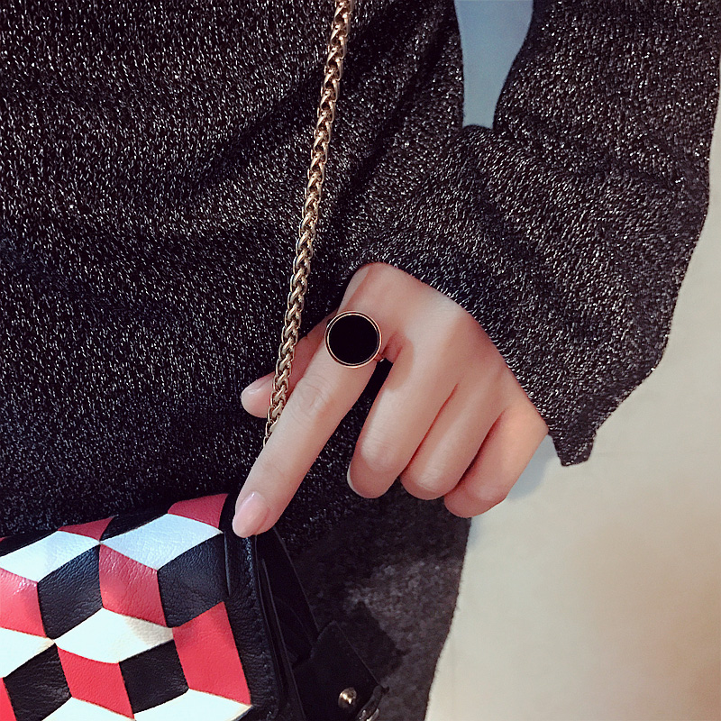 YUN RUO Mode Klasik Hitam Cincin Baja Titanium Naik Warna Emas - Perhiasan fashion - Foto 3