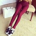 2015 Nueva Moda Para Mujer Delgada Cintura Elástica Color Sólido Algodón Tejido Jeans Leggings Mujer Pantalones Lápiz Leggings Ropa