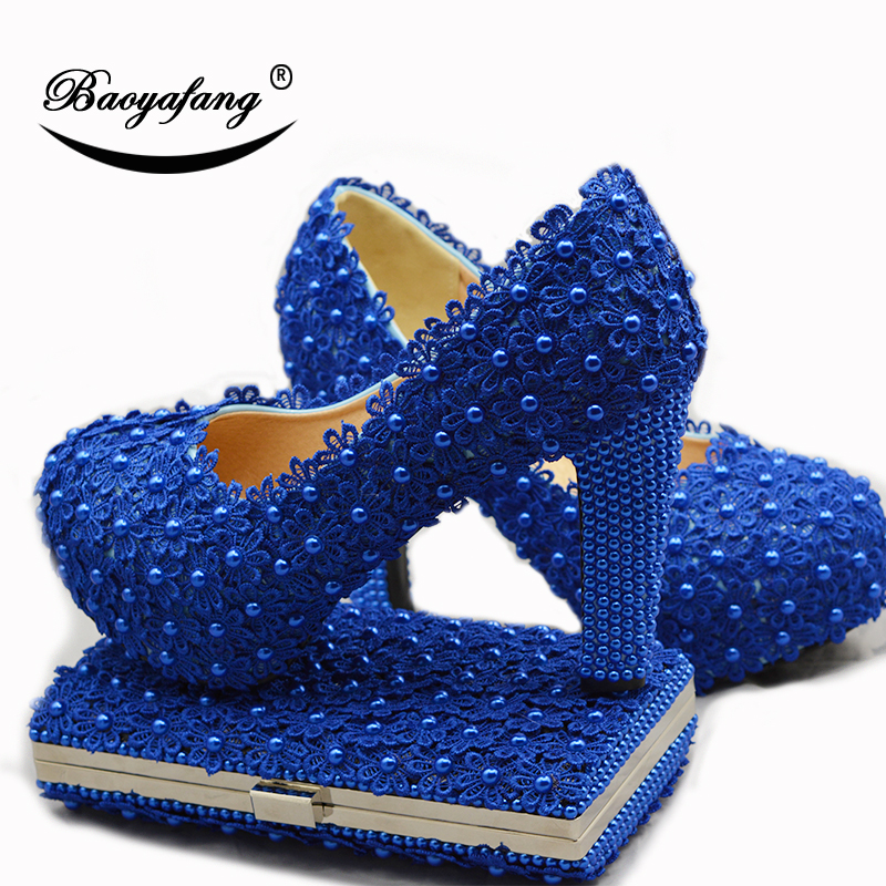 BaoYaFang 2018 Royal Blue Flower Wedding shoes with matching bags Ladies Platform shoes woman High heel shoes and bags fashion