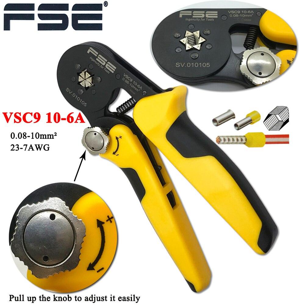 VSC9 (hsc8) 10-6A 0.08-10mm2 26-7AWG 6-6 6-6A precisa réglable tube carré dentelle en alliage d'aluminium sertissage herramientas de mano