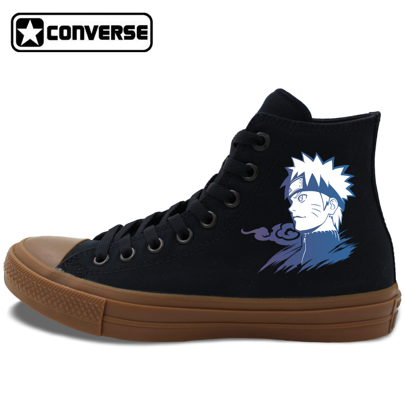 Prix pour Noir Blanc Converse Chuck Taylor II Toute Étoile Planche À Roulettes Chaussures Conception Anime Uzumaki Naruto Hommes Femmes Toile Sneakers JH38 10