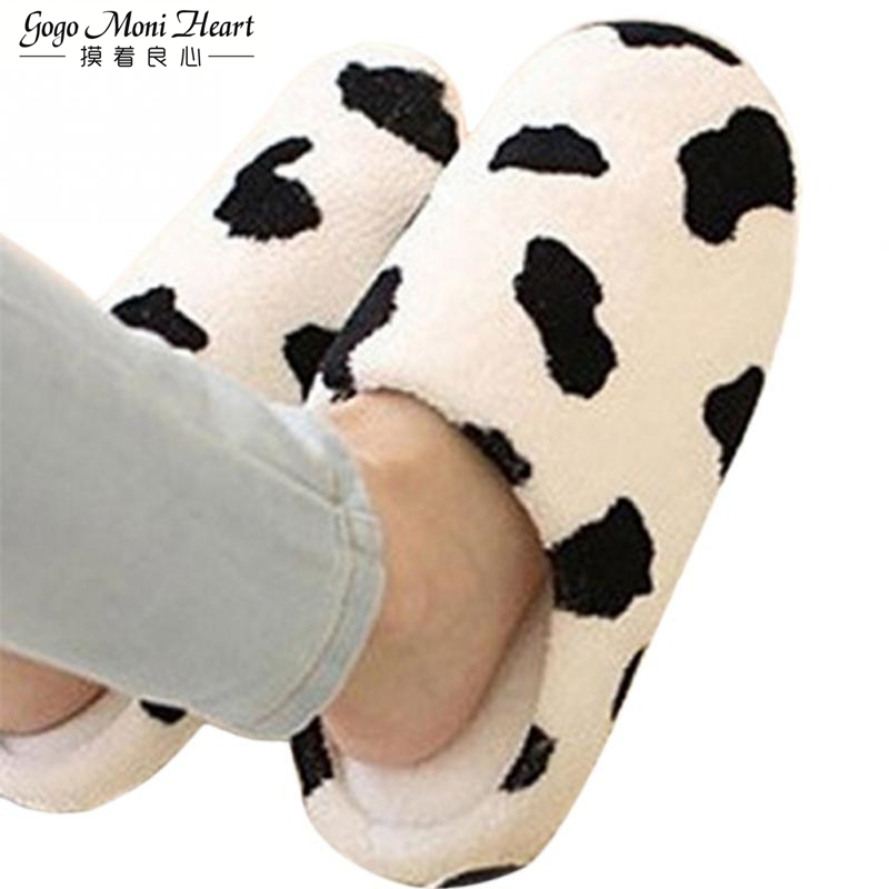 ad1777af8a9 Couple Winter Warm Slippers For Women 2019 Soft Cotton Cow House Indoor  Flats Shoes