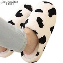Para zima ciepłe kapcie dla kobiet 2019 miękkie bawełna Cow House Indoor Flats buty tanie tanio Dorosłych Slippers Krótki pluszowy Tkaniny Podstawowe Polka kropka Kryty Tkanina bawełniana Płaskie z Płaski (≤ 1cm)