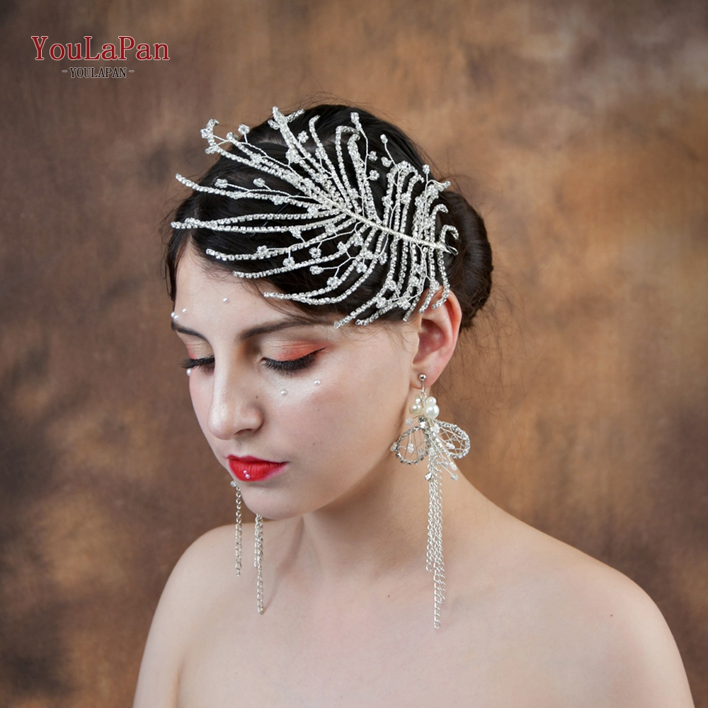 YouLaPan HP188 Wedding Hair Accessories For Bride Bridal Tiara Wedding Hairband Handmade Diamond Wedding Hair Jewelry