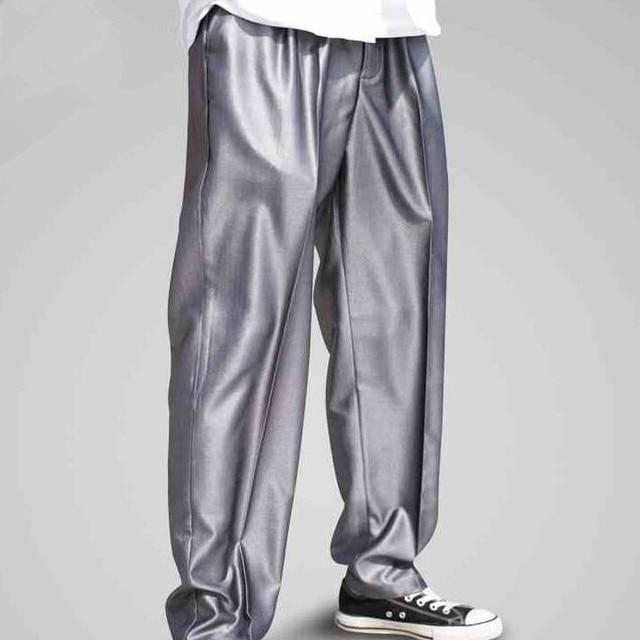 Men Street Dance Poppin Pants Funky Pants New 2017 Streetwear Silver Pants Popper Trousers Free Shipping