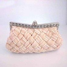Clutches Women Hot Fashion Handmade Knitting Satin Diamonds Evening Party Wedding Banquet Handbags Chains Shoulder Mini Bags
