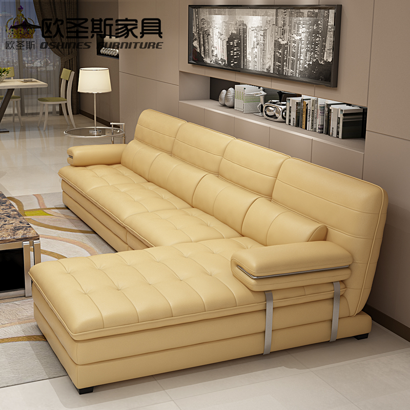 Yellow Leather Sectional Sofa Set, Metal Frame Leather Sofa,italian Leather  L Shape Sofa OCS 602 In Living Room Sofas From Furniture On Aliexpress.com  ...
