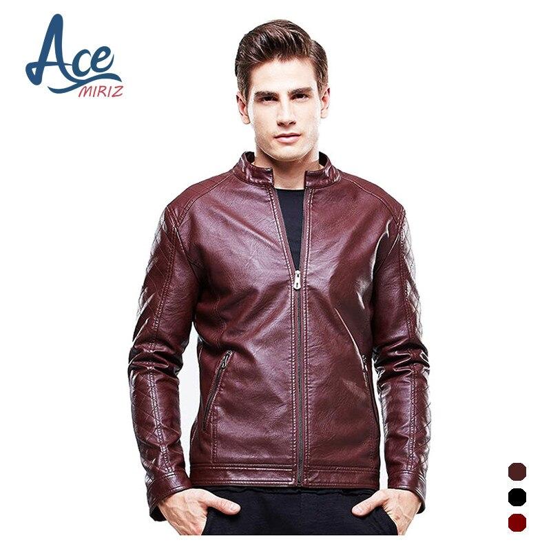 ACEMIRIZ 2017 Mens Leather Jacket PU Zippers Slim Coats ...
