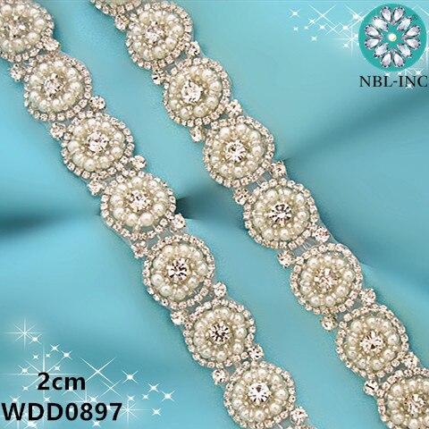 (1 YARD) Bridal beaded sewing silver rose gold pearl crystal rhinestone  applique trim iron d6985b4e445b