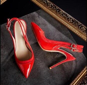 сандалии с двумя ремешками | 2018 осенние женские туфли-лодочки с острым носком и ремешком на пятке; бежевые туфли из лакированной кожи на высоком каблуке; свадебные модел...