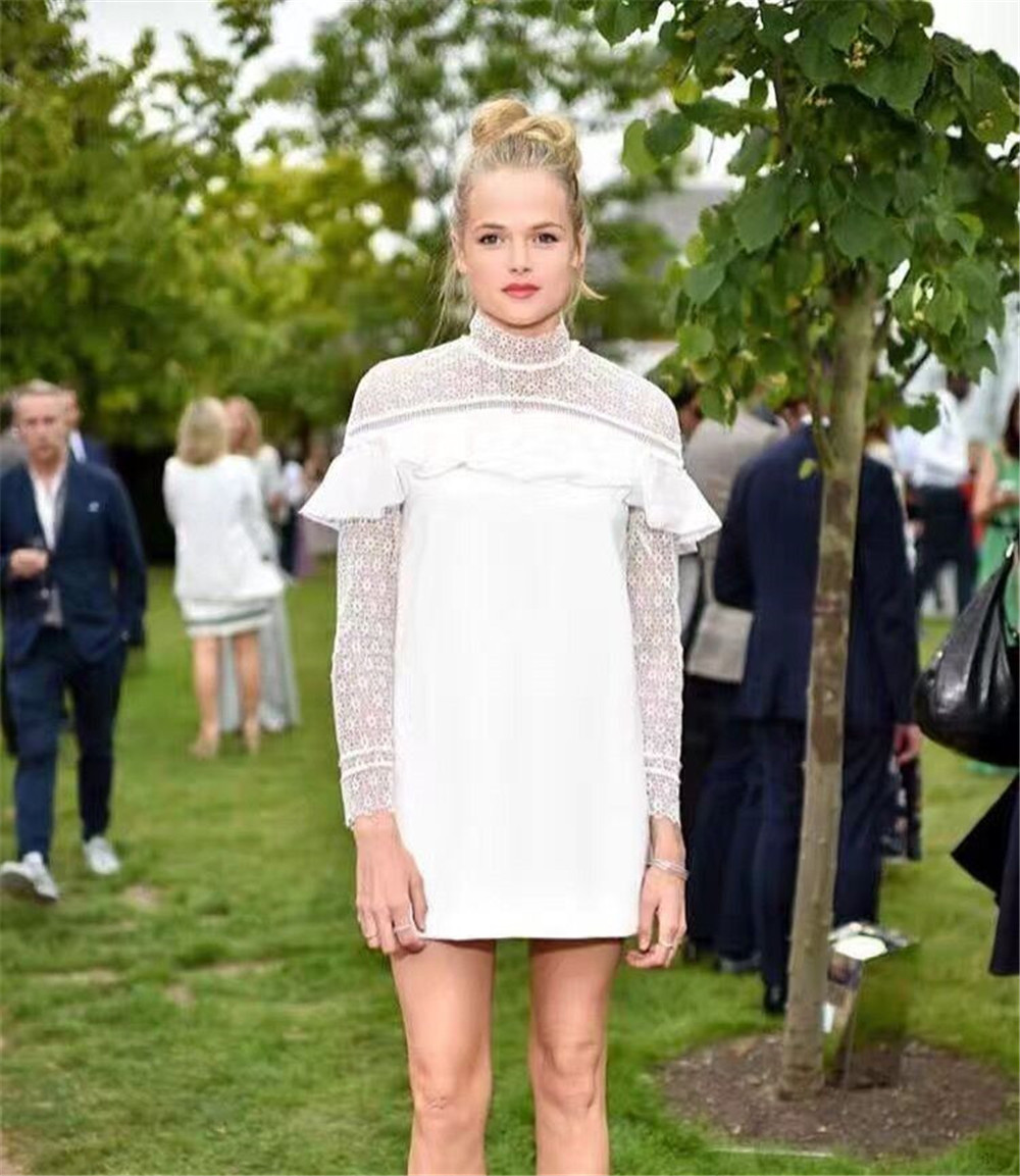 High Quality self portrait dress 2017 women autumn spring sexy stand collar long sleeve  ...