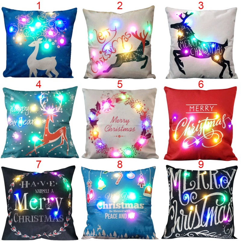 Christmas Xmas Linen Cushion Cover Throw Pillow Case Home: Aliexpress.com : Buy Christmas LED Light Cotton Linen Sofa