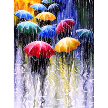 YIKEE diamond embroidery rainy day,full drill,cross stitch,square.5d diy painting  kit NEW TOOL