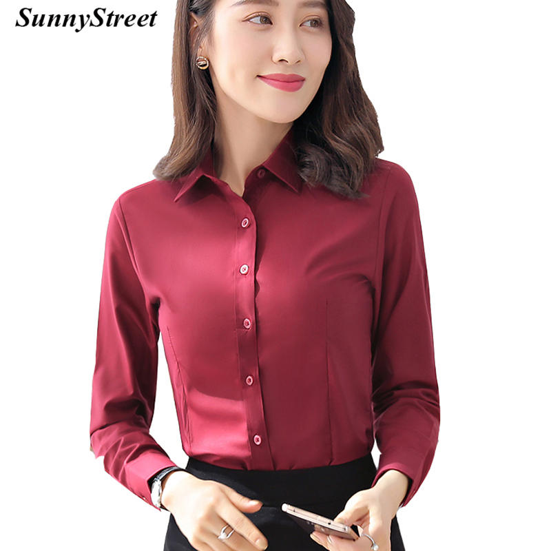 Women Business Shirt Long Sleeve Ladies work wear Modal Solid Colour Blouse White Black Blue more colours ...