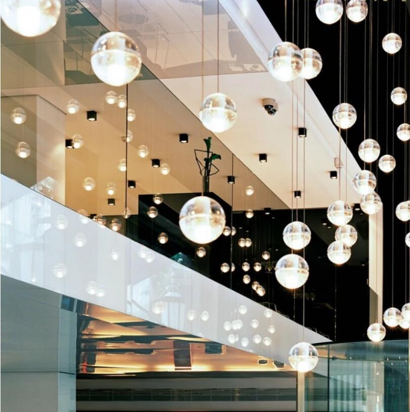 LED Crystal Glass Ball Pendant Meteor Rain Light Meteoric Shower Stair Bar Droplight Ceiling Chandelier Lighting AC110 240V