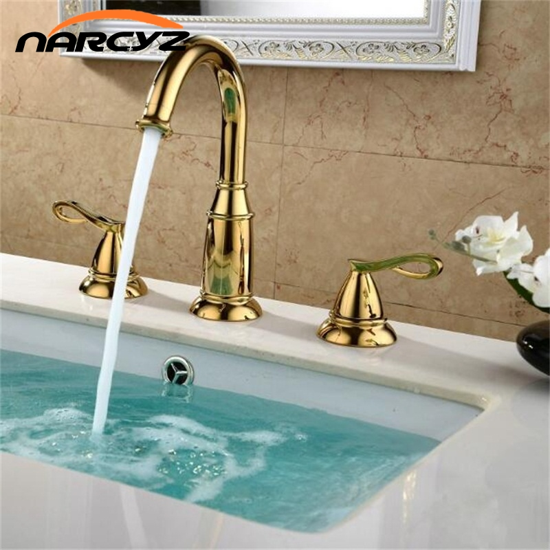 Basin Faucets Brass Golden 3 Holes Double Handle Bathroom Sink Faucet Luxury Bathbasin Bathtub Taps Hot