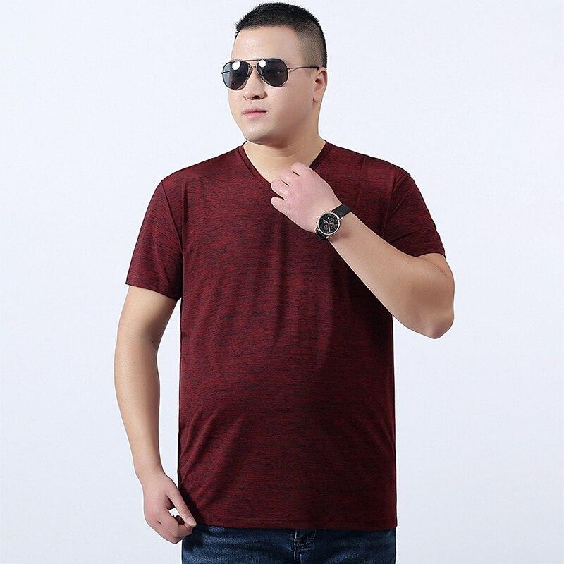 Mode Européenne Et Américaine de Nouveaux Hommes À Manches Courtes T-Shirt Grande Taille Solide Couleur V-cou Casual Personnalité Top T-Shirt hommes