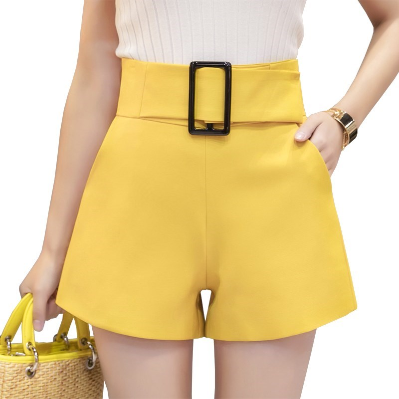 High Waist Wide Leg Shorts Women 2019 Spring Summer Fashion Belted Short Pants Sexy Shorts Solid Elegant Ladies Short Feminino