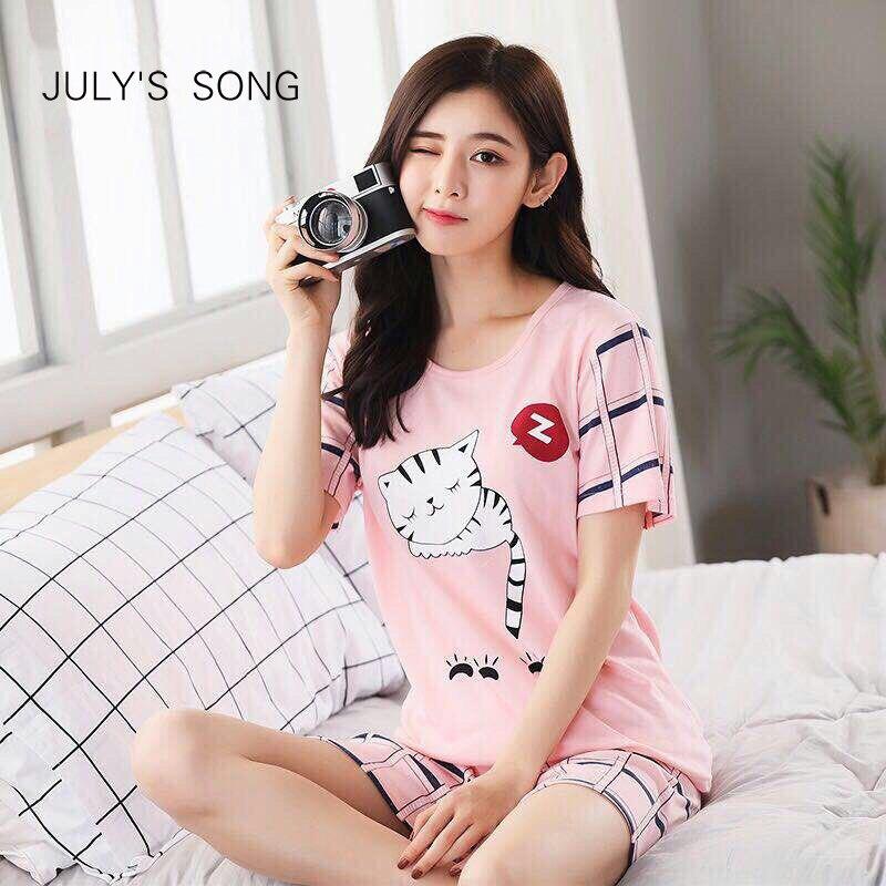 JULY'S SONG Thin Cartoon   Pajamas   Short Sleeve Sleepwear Women   Pajamas     Set   Spring Summer New Cute Casual Homewear Female Pyjamas