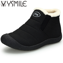 High quality fashion winter warm add plush men boots shoes thick sole black male snow boots slip on mens rubber ankle boots 2017