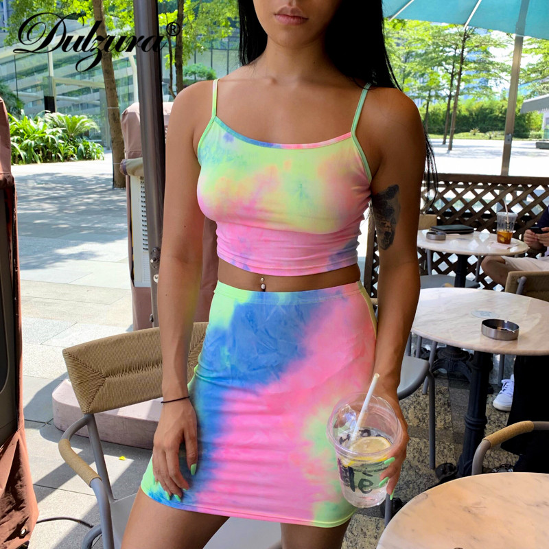 Dulzura 2019 Summer Women Two Piece Set Shirt Set Tie Dye Crop Top High Waist Streetwear Festival Sexy Outfits Tracksuit 2 Piece