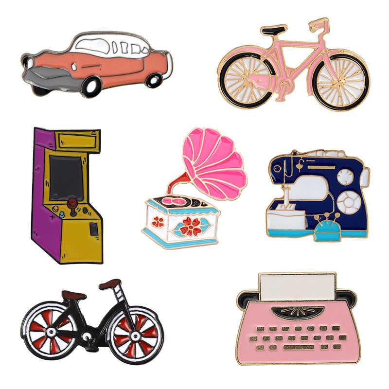 Harga Murah Retro Penemuan Koleksi Bros Mobil Sepeda Mesin Jahit Phonograph Mesin Tik Permainan Mesin Pin Lencana Hadiah