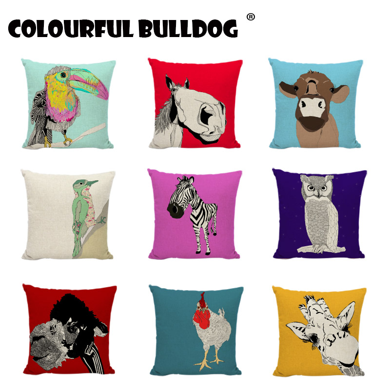 Hot Sale Zebra Buffalo Cushion Covers Giraffe Owl Donkey Cow Parrot Printed Car Home Decorative Girls Car Beds Throw Pillow Case