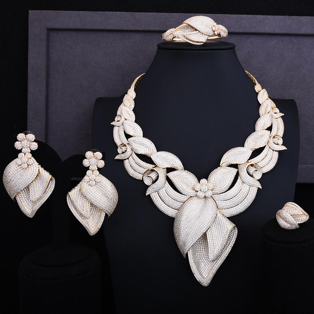 GODKI Exclusive Scintillant De Luxe Fleur Blossom Femmes De Mariage Cubique Zircone Lariat Collier Boucle D'oreille Bracelet Anneau Ensemble de Bijoux