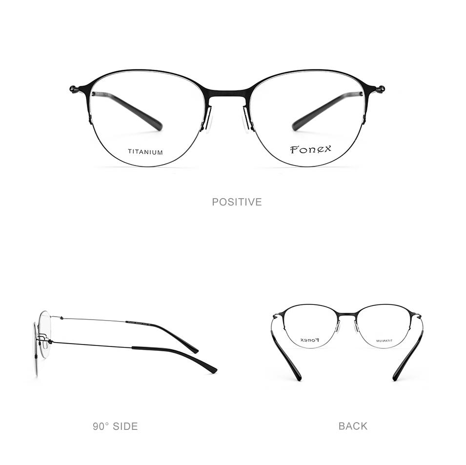 fabb4f33390 Titanium Glasses Frame Men Round Ultralight Prescription Eyeglasses ...