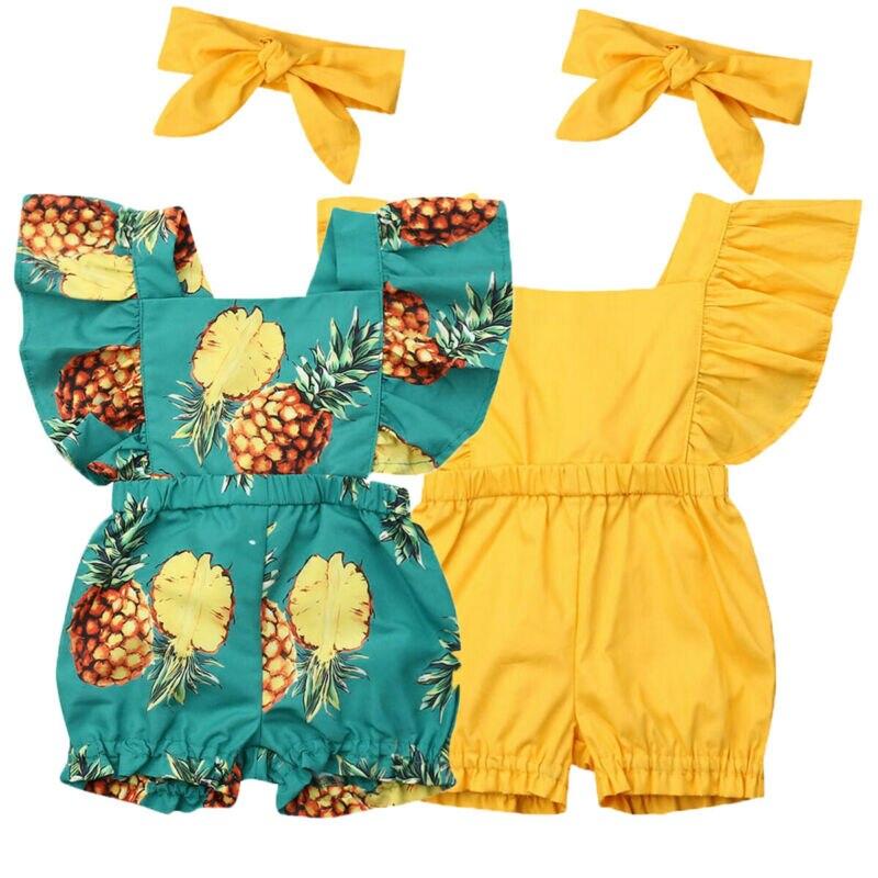 UK Newborn Infant Baby Girl 0-3Y Romper Headband Jumpsuit Outfit Sunsuit Clothes 2PCS