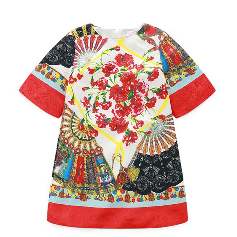 Bongawan New Floral Print Girls Dress with Bohemian Style Toddler Girls Princess Dresses Costumes for Birthday 2T 3T 4T 5T 6T 8T 2017 new girls dresses for party and wedding baby girl princess dress costume vestido children clothing black white 2t 3t 4t 5t