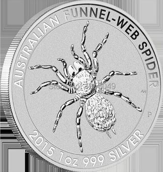 Ebay hotsales,20pcs/lot Free shipping 1 oz silver coin - 2015 Australian Funnel Web Spider coin,Brass platedsilver coin