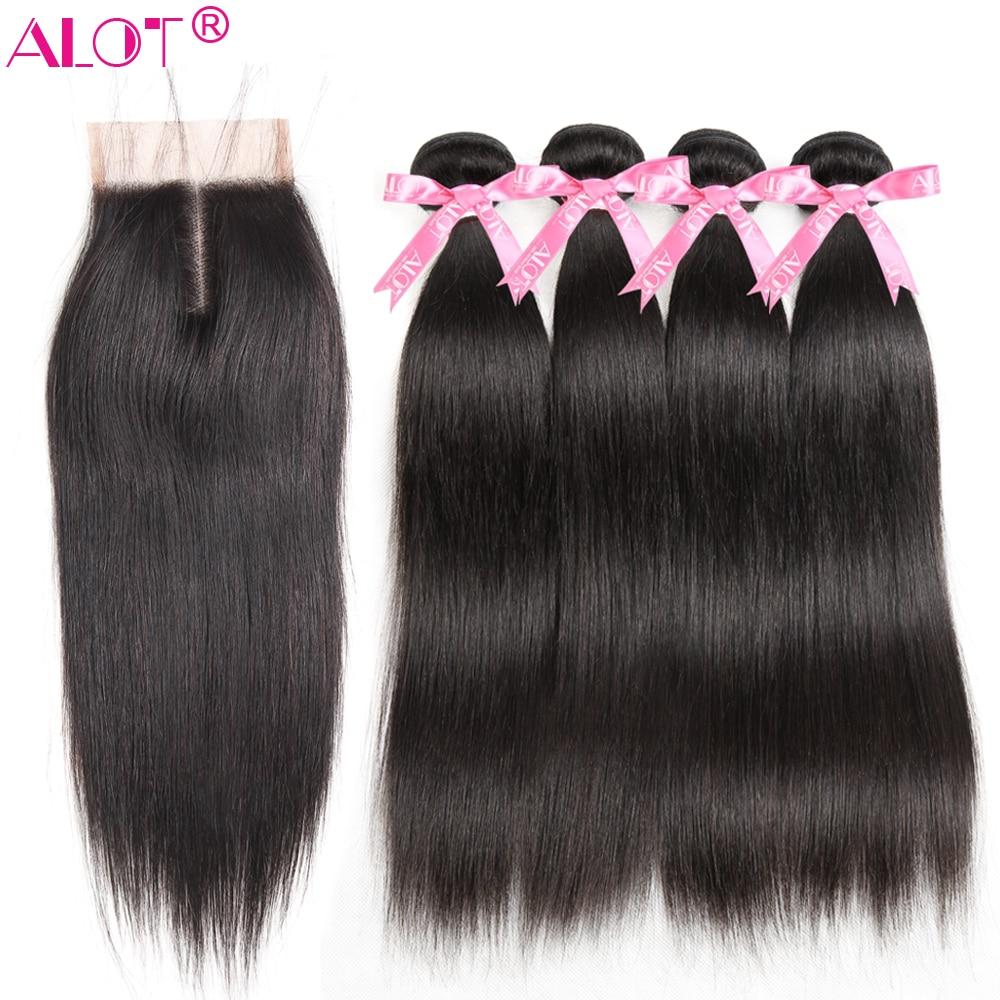 Alot Malaysian Straight Hair Bundles With Closure 4x4 Natural Color 100 Human Hair Weave Bundles With