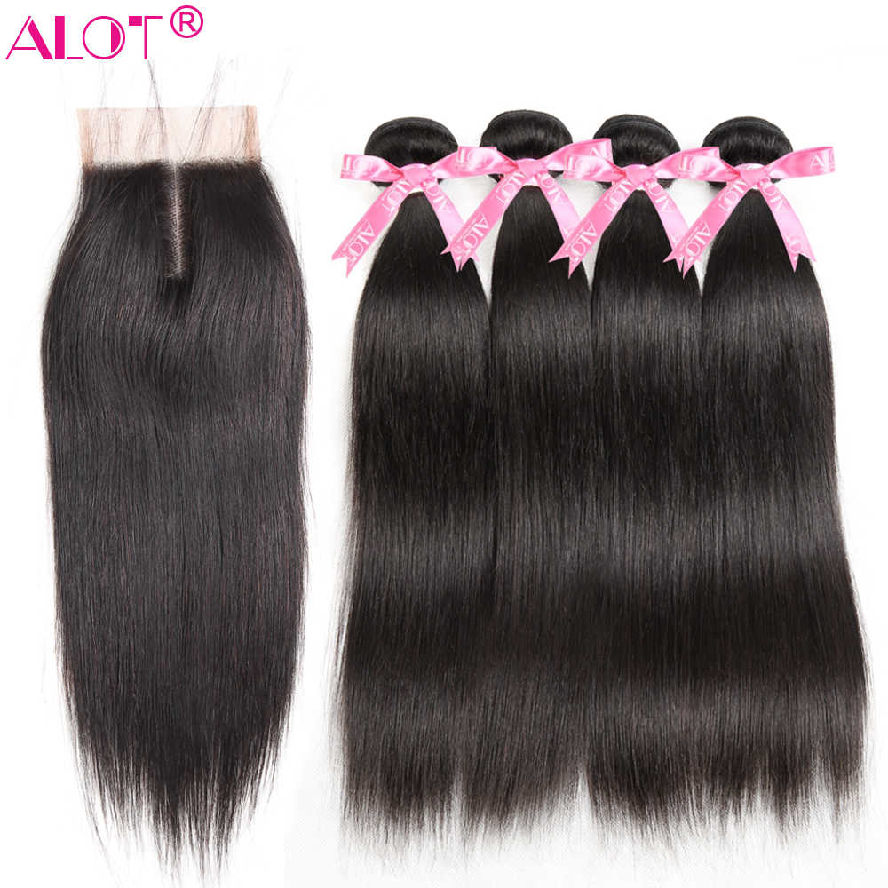 Alot Malaysian Straight Hair Bundles With Closure 4x4 Natural Color 100% Human Hair Weave Bundles With Lace Closure Non Remy