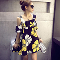 2016 más el tamaño de las mujeres del verano top de manga corta floja de una sola pieza de lino vestido de algodón vestido de tirantes marca