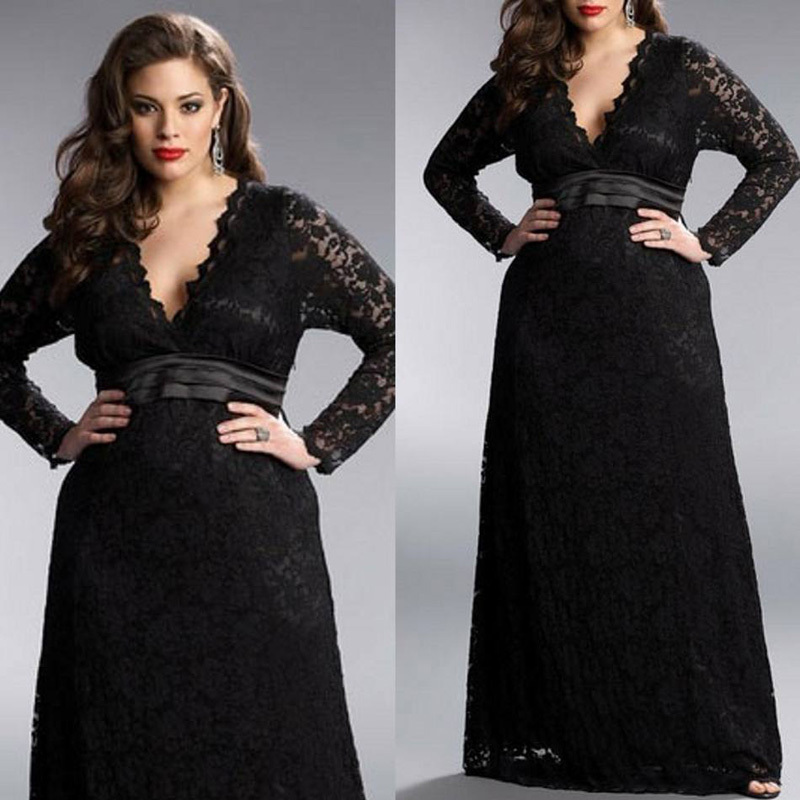 Hot Black Lace Plus Size Mother of the Bride Dresses With Long Sleeves 2015 V Neck A Line Brides Mother Dresses For Weddings in Mother of the Bride Dresses from Weddings Events