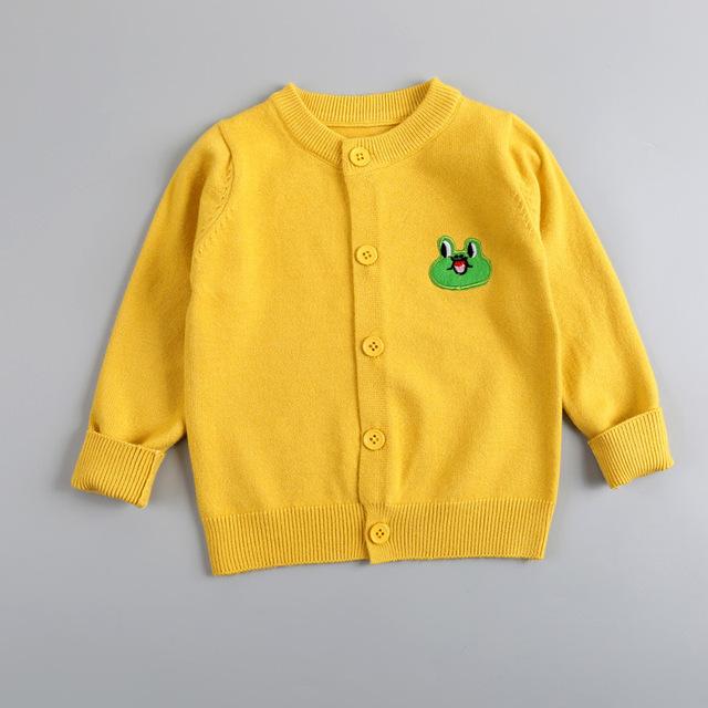 2016 bebé ropa de los niños muchachas de los muchachos del color del caramelo de punto chaqueta de punto para niños otoño primavera de algodón de invierno outer wear tooddler